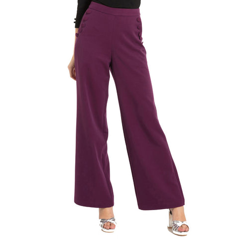 Women's Voodoo Vixen Stacey 40's Style Trousers Purple Retro Rockabilly Vintage