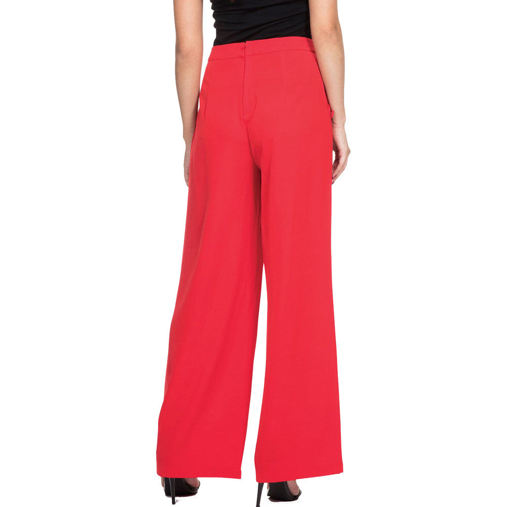 Women's Voodoo Vixen TEDDY Button Front Trousers Red Retro Vintage Rockabilly
