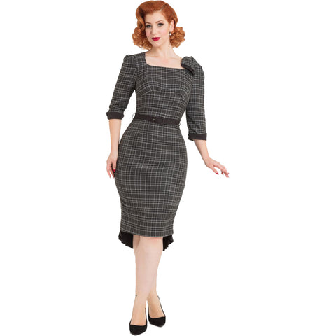 Voodoo Vixen Veronica Tartan Pencil Dress Grey Plaid Retro Rockabilly Vintage