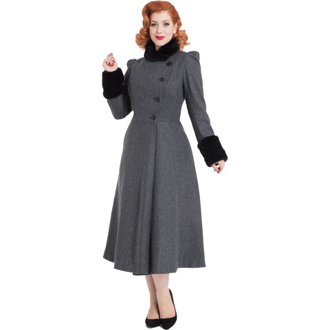 Women's Voodoo Vixen Violet Fur Trim Dress Coat Grey Retro Rockabilly Vintage