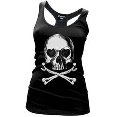 Women's Cartel Ink Lovely Bones Racerback Tank Top Black Skull Punk Goth