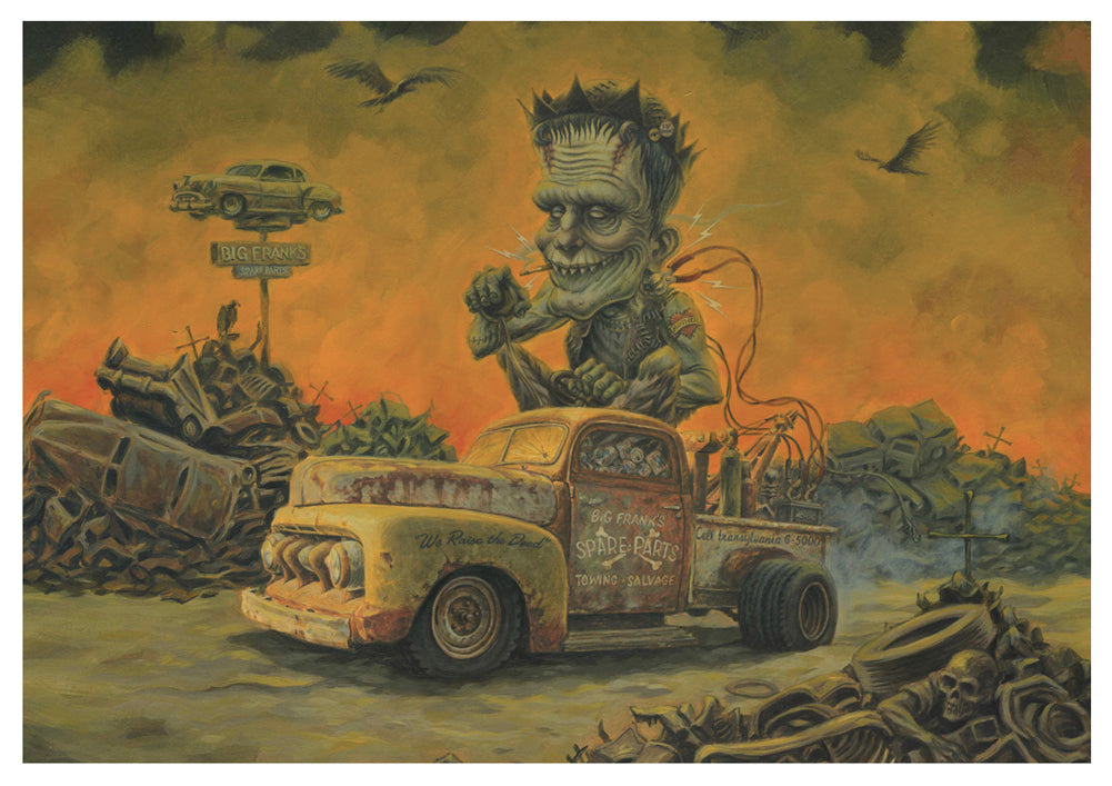 Frank's Spare Parts by P'gosh Signed Art Print Frankenstein Monster