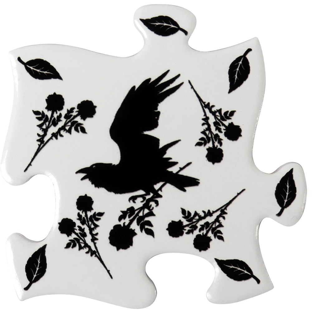 Alchemy of England Black Raven & Rose Coaster Set White/Black Goth