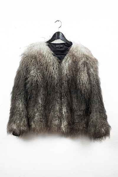 FAUX MUSKOX FUR COAT