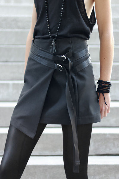 STRAPPED WRAP SKIRT