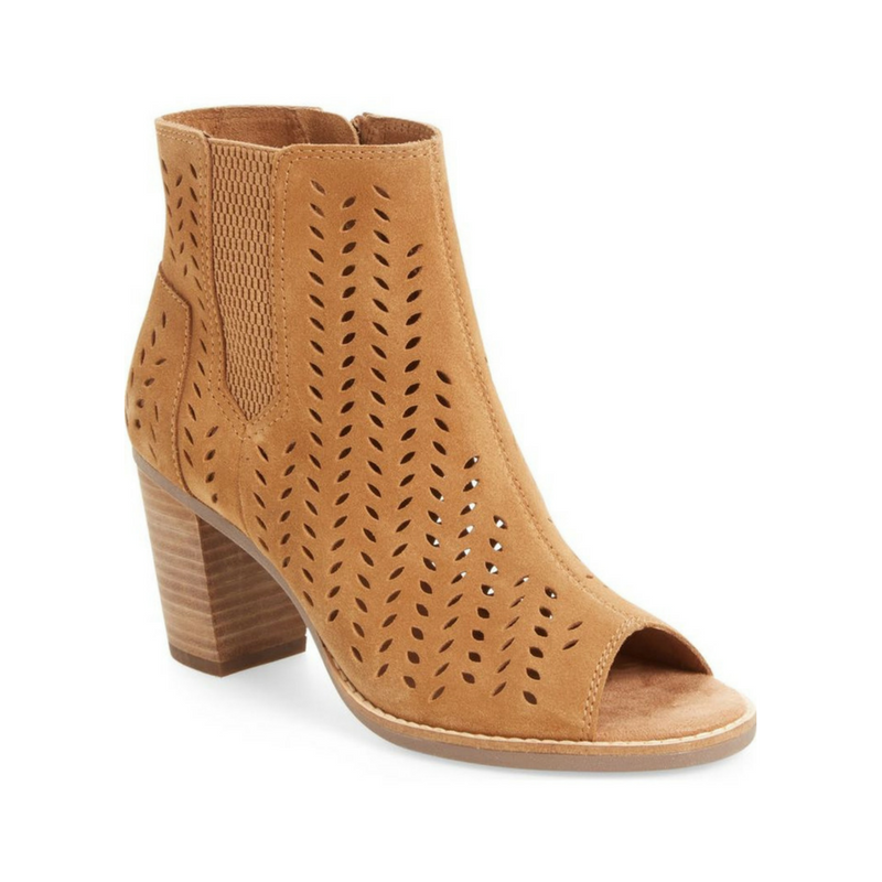 Toffee Suede Perforated Leaf Majorca Peep Toe