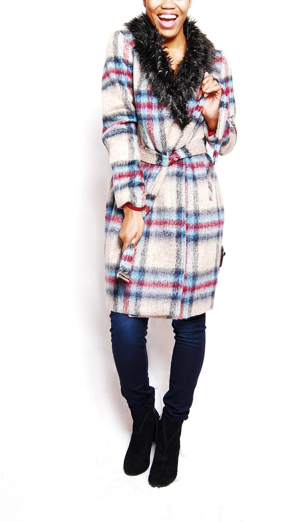 Checked Faux Fur Collar Wrap Coat