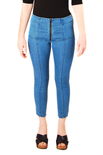 Zip-front Denim Legging