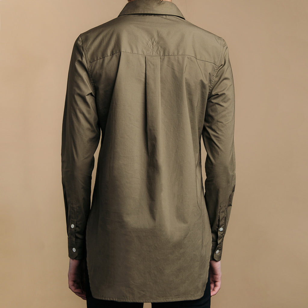 The Trapezoid Pullover - Matte Olive. Back view. Box pleat, long back hem.