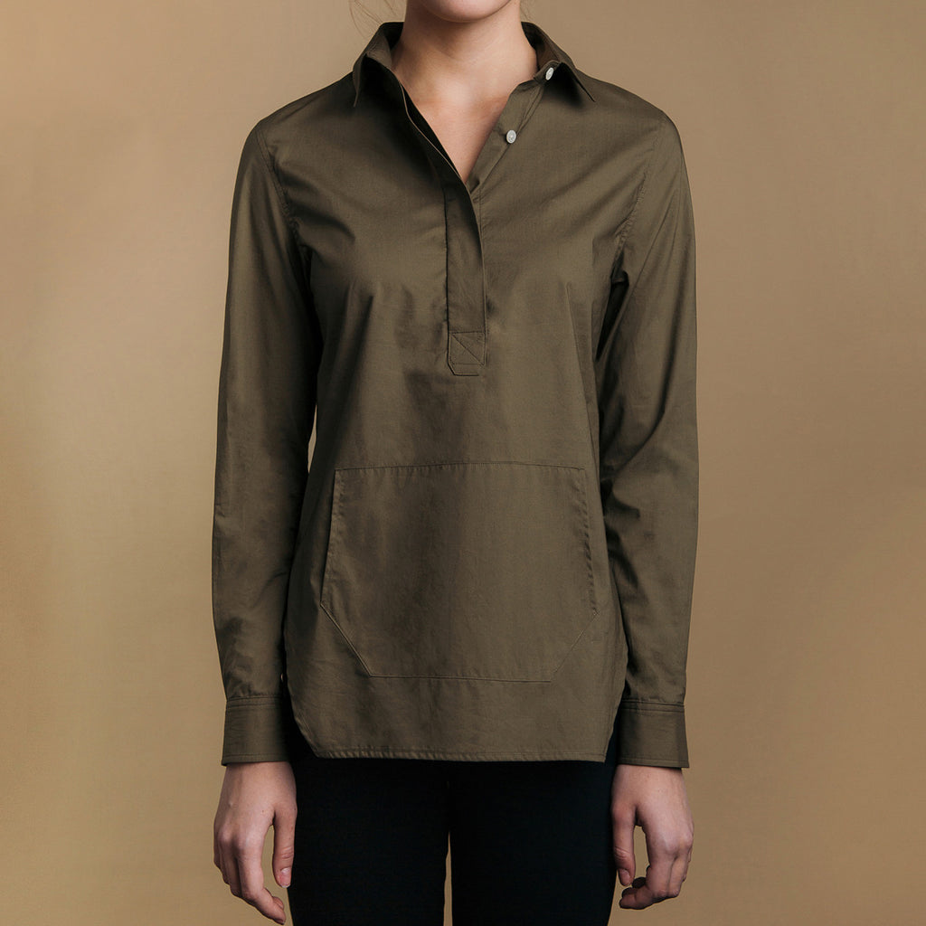 The Trapezoid Pullover - Matte Olive, front view. Front pouch pocket. Angled hem.