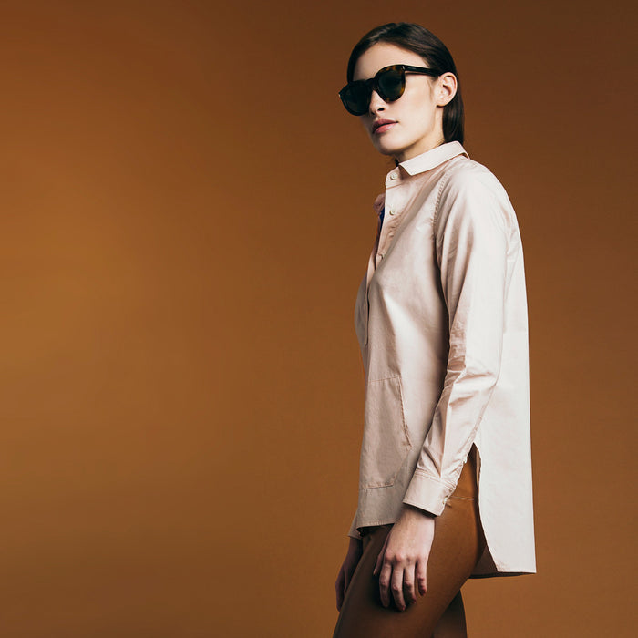 The Trapezoid Pullover - Dusty Blush. Gape-Free Shirting.