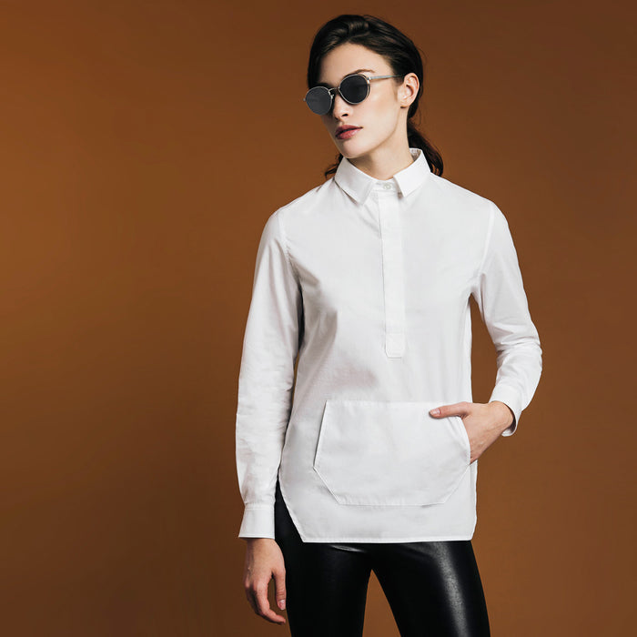 The Trapezoid Pullover - Paper White. Gape-Free Shirting.