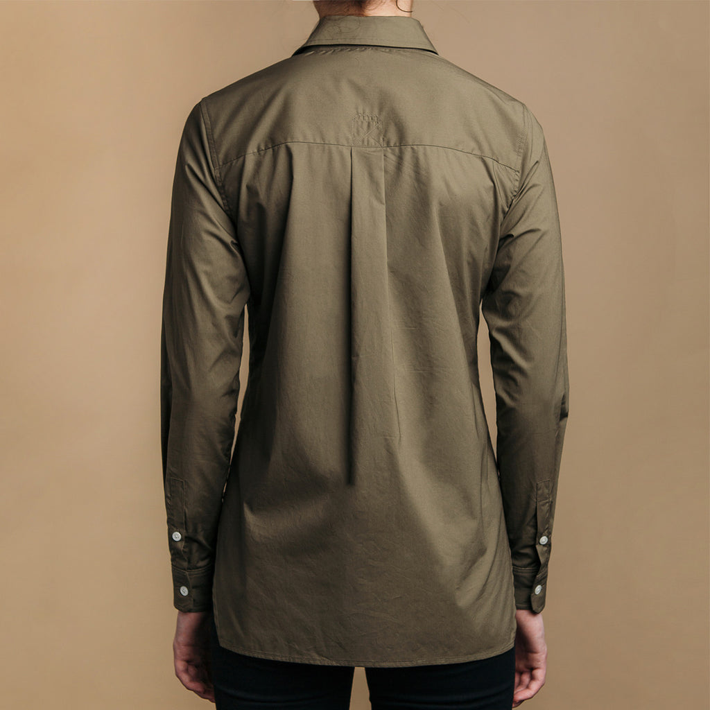 The Trapezoid Shirt - Matte Olive. Back view. Box pleat, straight hem.