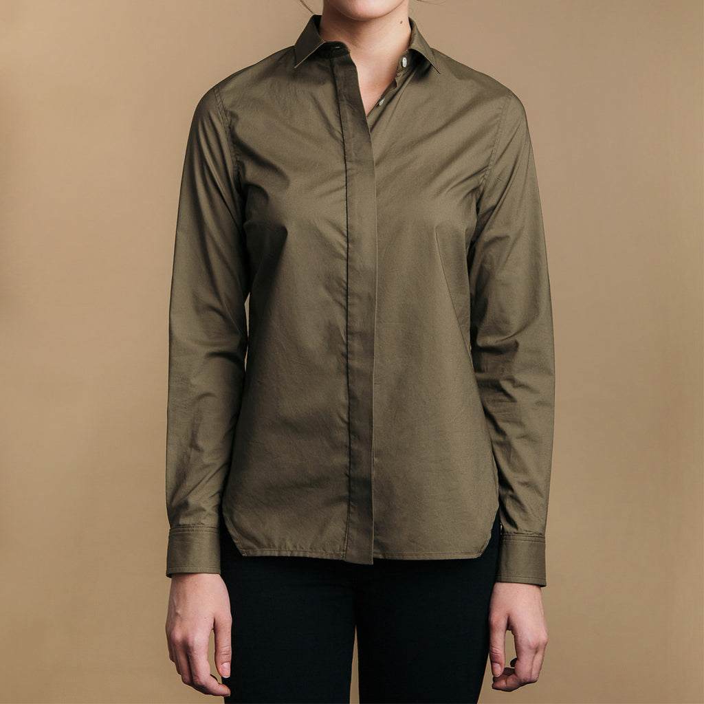 The Trapezoid Shirt - Matte Olive. Front view. Covered placket. Shell buttons.