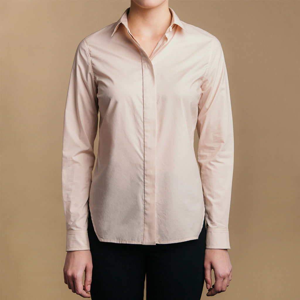The Trapezoid Shirt - Dusty Blush. Front view. Covered placket. Shell buttons.