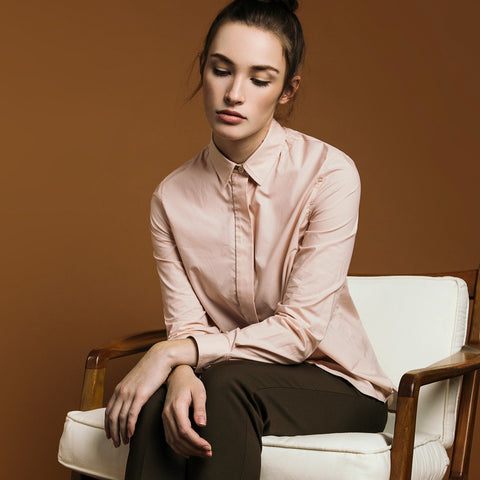 The Trapezoid Shirt - Dusty Blush. Gape-Free Shirting.