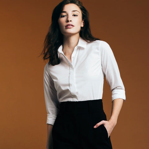 The Trapezoid Shirt - Paper White. Gape-Free Shirting. Best collared shirt.