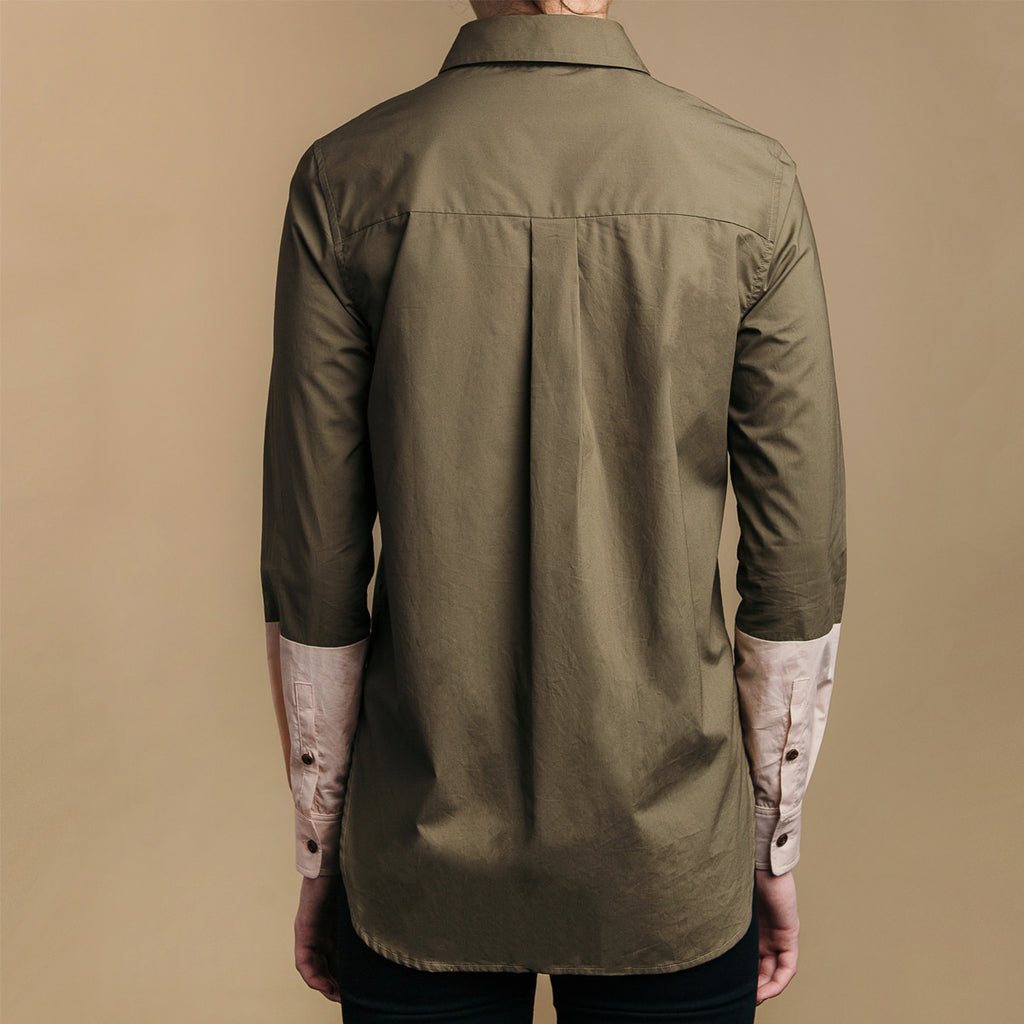 The Hand-Dipped Shirt - Matte Olive/DustyBlush, back view. Box pleat.