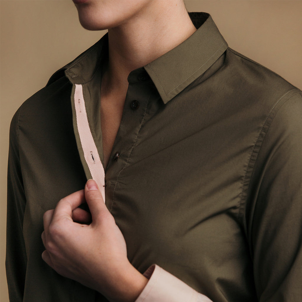 The Hand-Dipped Shirt - Matte Olive/DustyBlush, pink grosgrain ribbon placket detail.