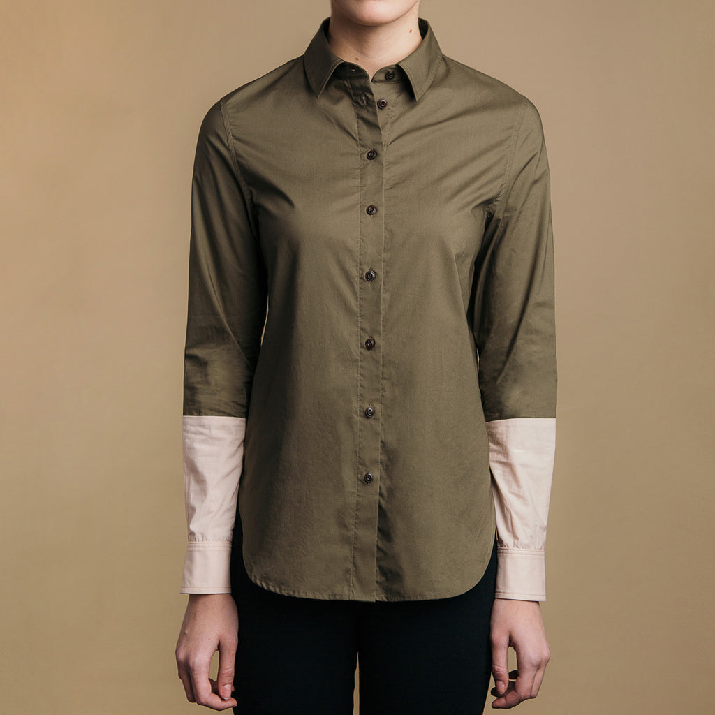 The Hand-Dipped Shirt - Matte Olive/DustyBlush, front view. Faux horn buttons.