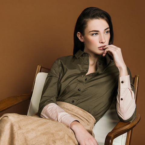 The Hand-Dipped Shirt - Matte Olive/DustyBlush. Gape-Free Shirting.