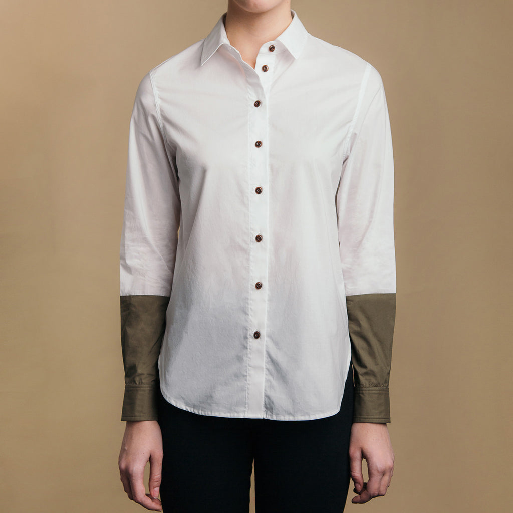 The Hand-Dipped Shirt - Paper White/Matte Olive. Front view, brown buttons.