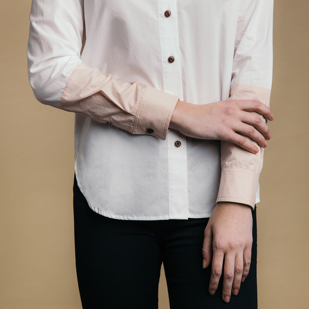 The Hand-Dipped Shirt - Paper White/DustyBlush, color block arm detail.