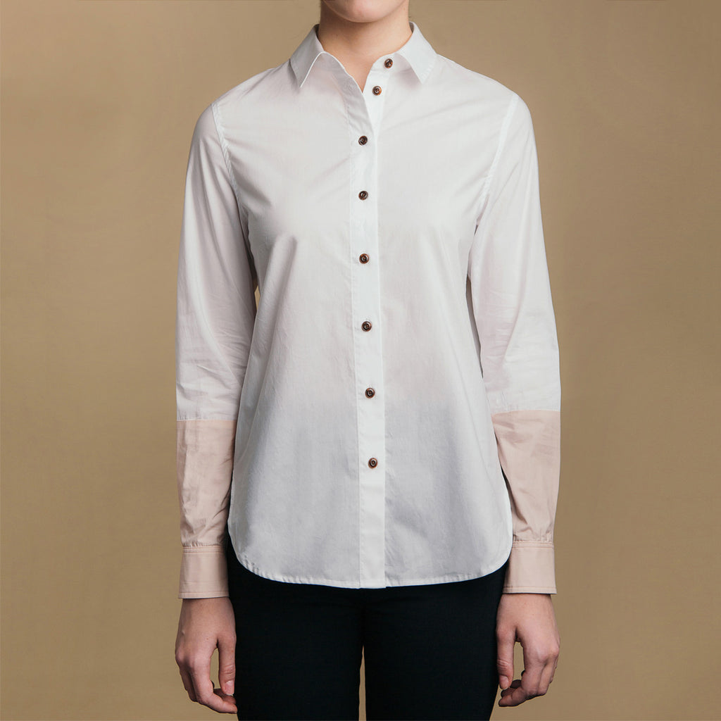 The Hand-Dipped Shirt - Paper White/DustyBlush, front view. Faux horn buttons.