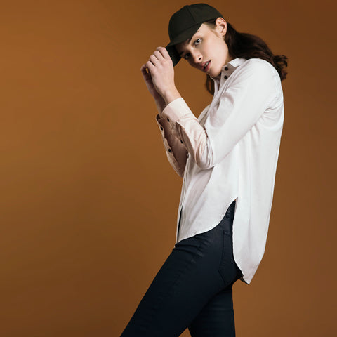 The Hand-Dipped Shirt - Paper White/DustyBlush. Gape-Free Shirting.