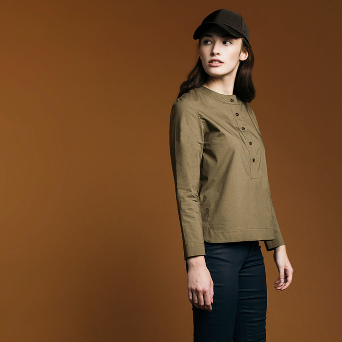 The Equilibrium Shirt - Matte Olive. Gape-Free Shirting.