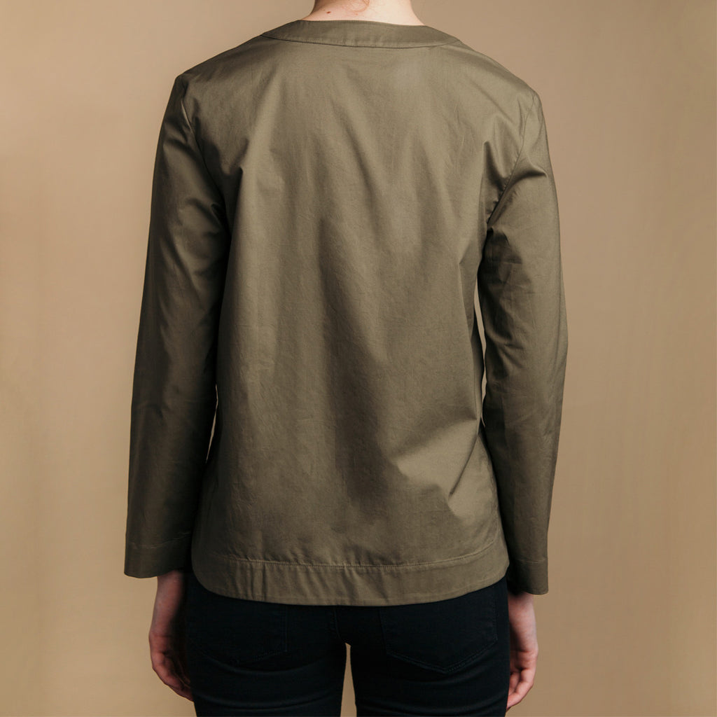 The Equilibrium Shirt - Matte Olive, back view.