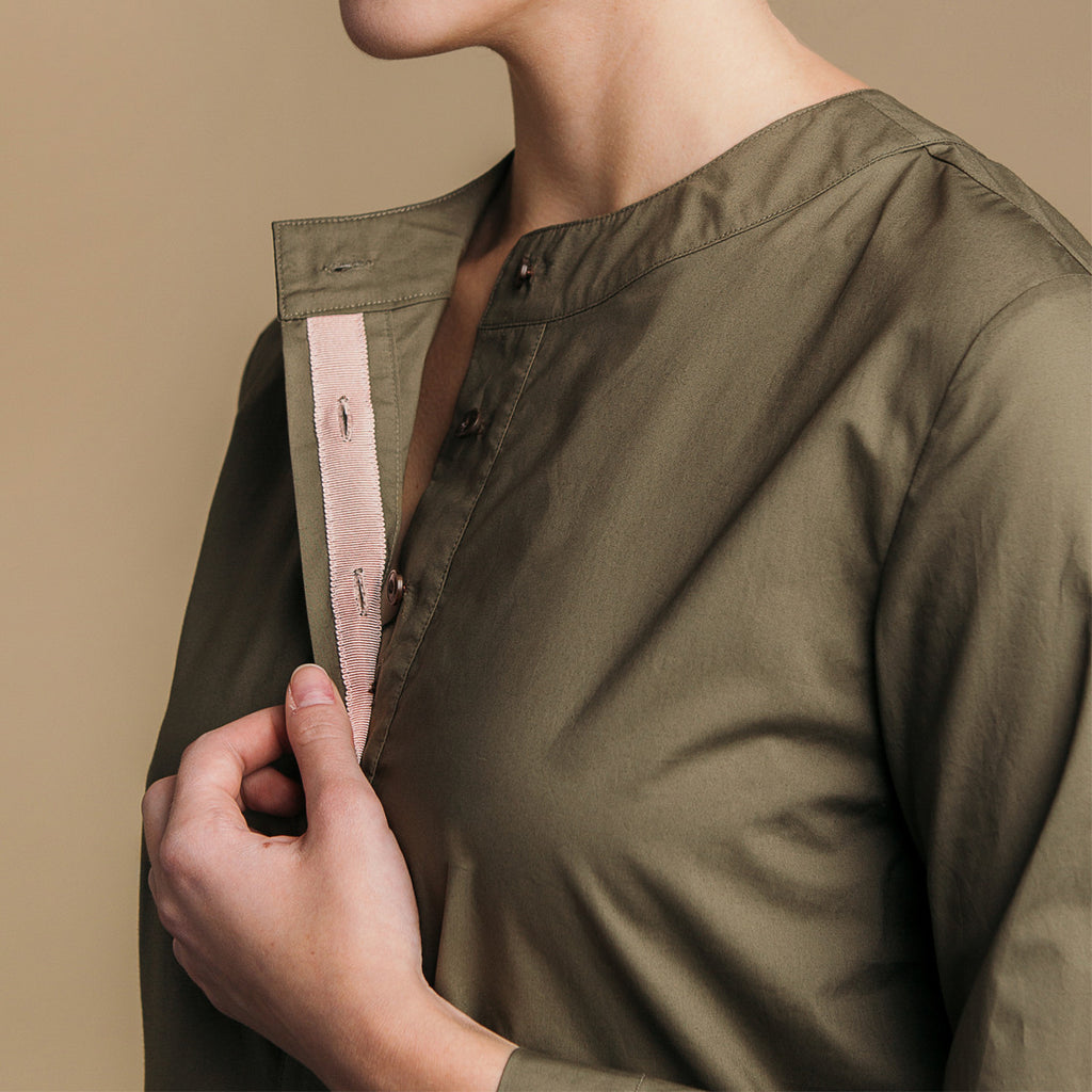 The Equilibrium Shirt - Matte Olive, pink grosgrain placket detail.