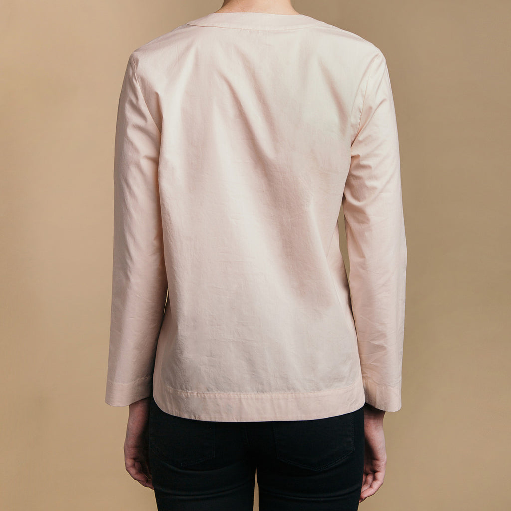 The Equilibrium Shirt - Dusty Blush, back. Straight hem.