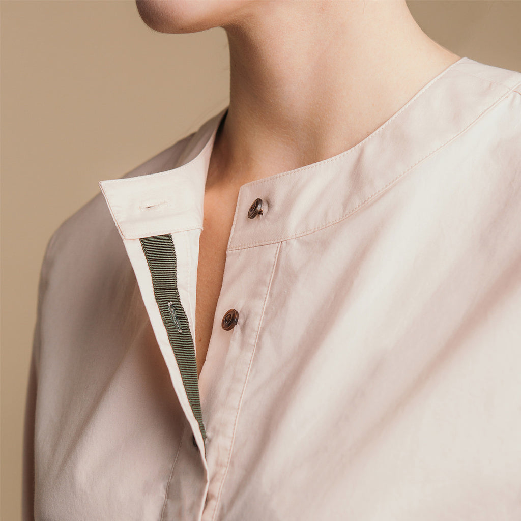 The Equilibrium Shirt - Dusty Blush, grosgrain placket detail.