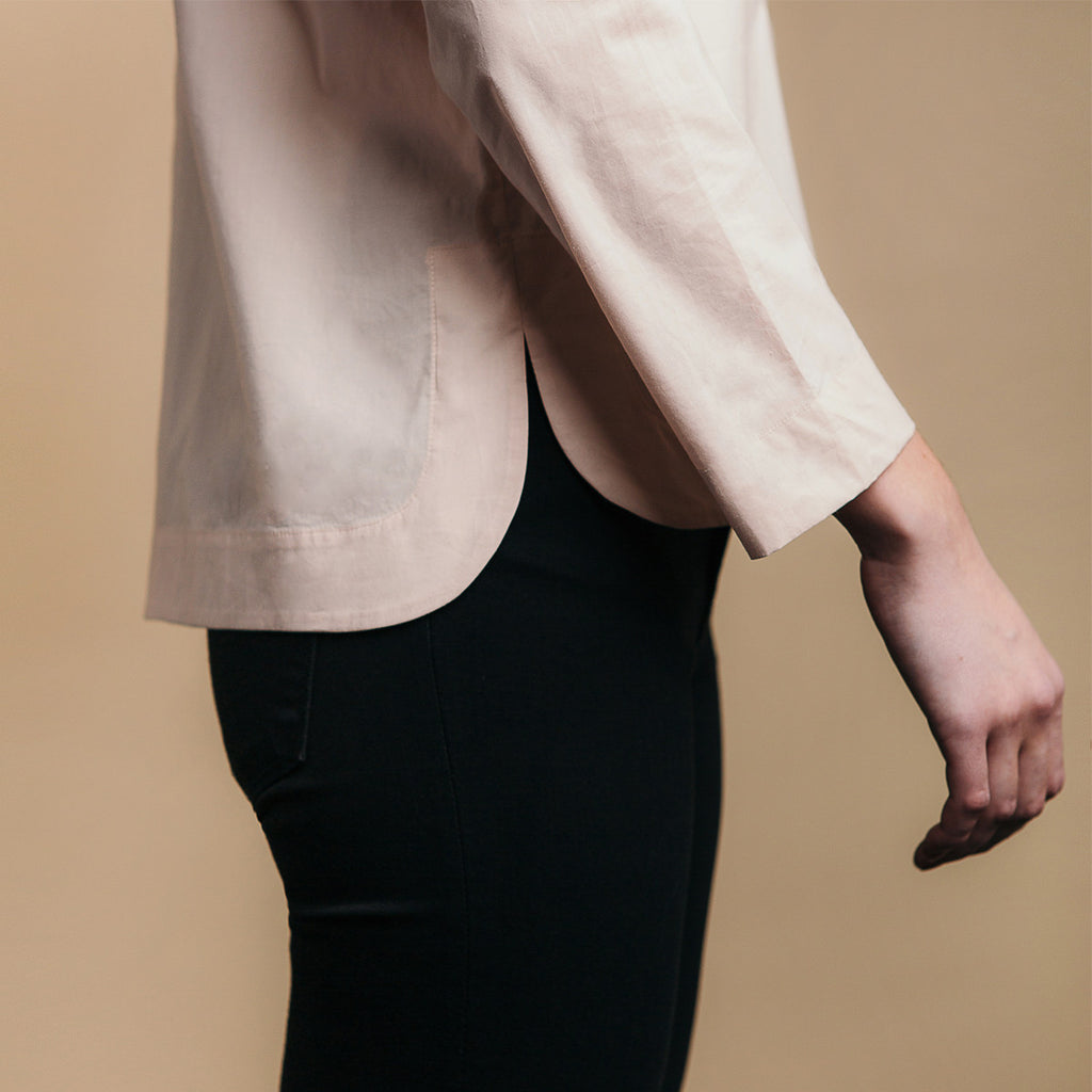 The Equilibrium Shirt - Dusty Blush, side view. Rounded side seams.