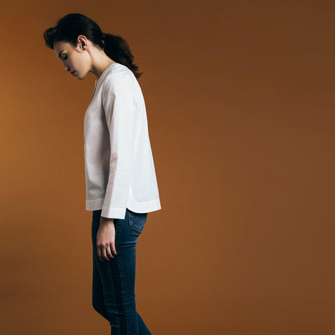 The Equilibrium Shirt - Paper White. Gape-Free Shirting.