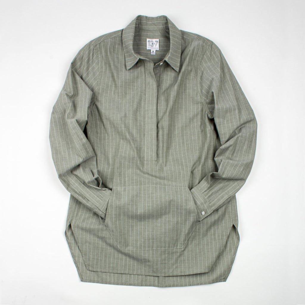 Thirteen Seven Trapezoid Pullover shirt with kangaroo pocket in green with white pinstripe.