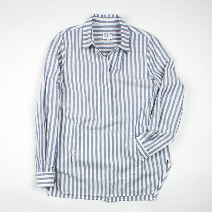Thirteen Seven navy and white stripe Trapezoid Pullover shirt with kangaroo front pocket.