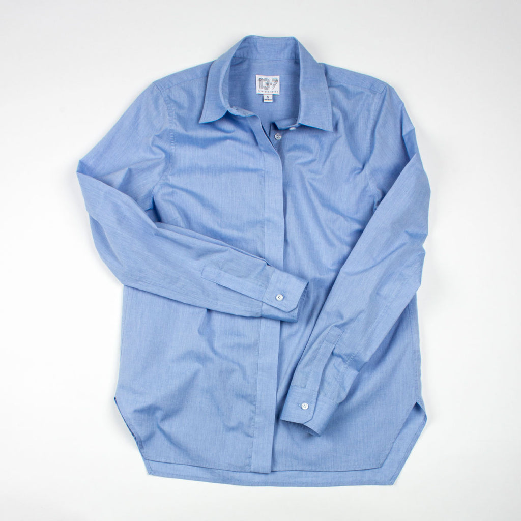 Thirteen Seven Trapezoid Shirt in Little Boy Blue. Classic blue shirt for women. Gape-free.