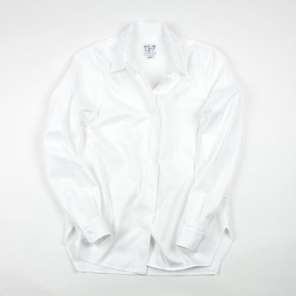 Thirteen Seven white Trapezoid hem classic white women's dress shirt.
