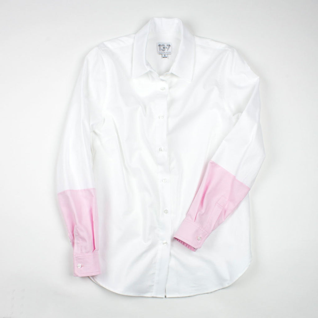 Thirteen Seven Hand-Dipped color block sleeve women's shirt in white and pink.