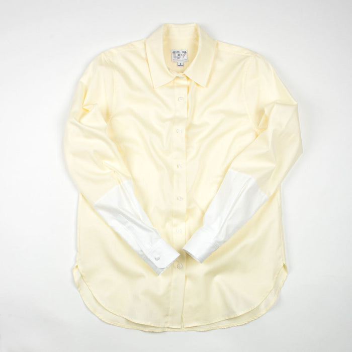 Thirteen Seven Hand-Dipped color block dress shirt for women in yellow and white.