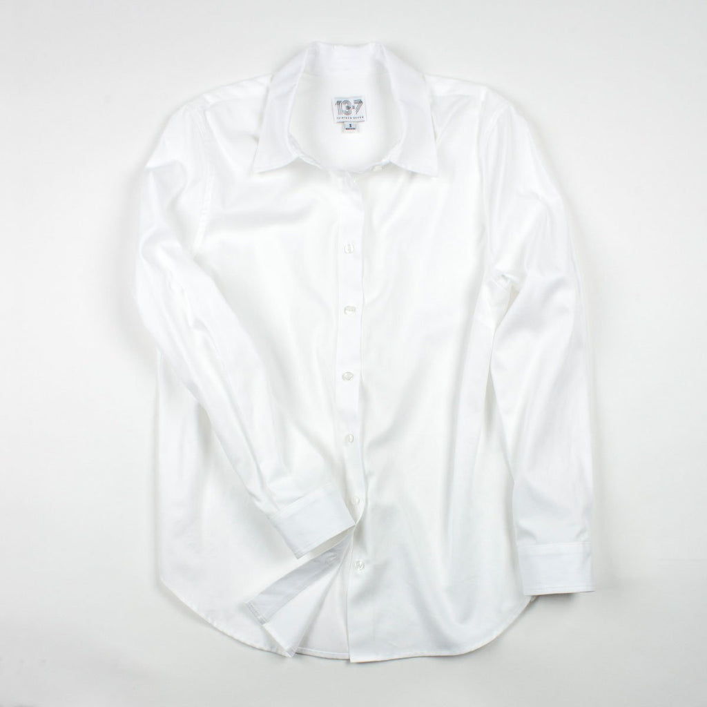 Thirteen Seven Risky Business oversized women's dress shirt in white.