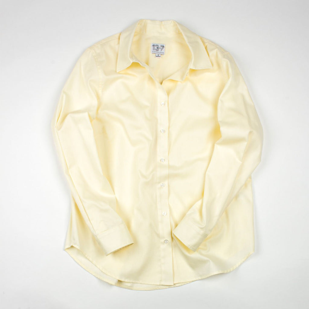 Thirteen Seven yellow Risky Business women's dress shirt.