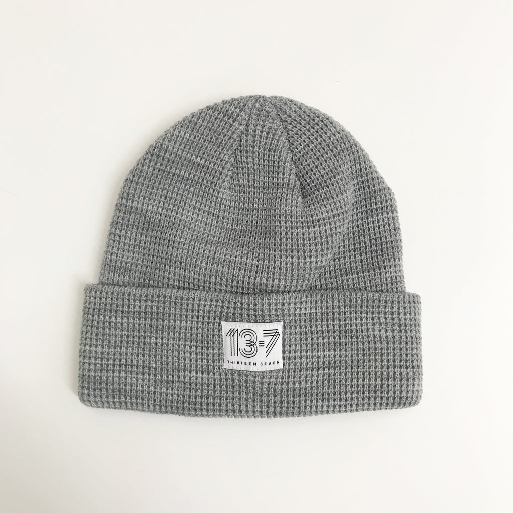 Thirteen Seven Waffle Beanie, Heather Gray