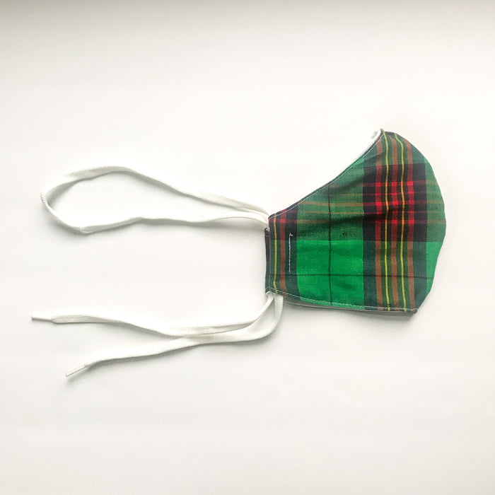 Curved Face Mask in Green Tartan