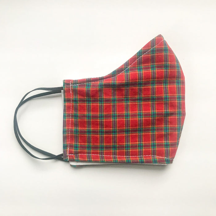 Triple Layer Red Tartan Mask w/Elastic Loops