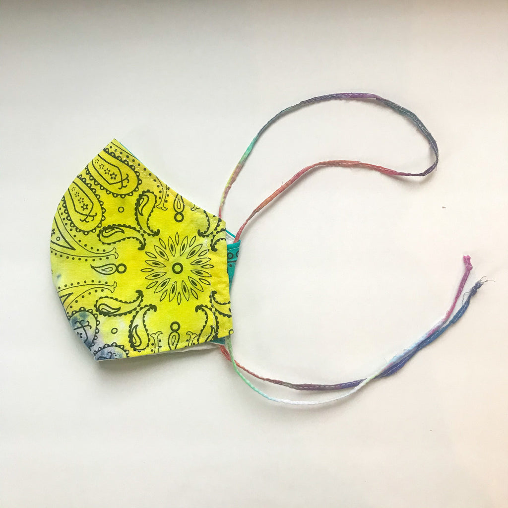Curved Double Layer Tie-Dye Mask with Tie