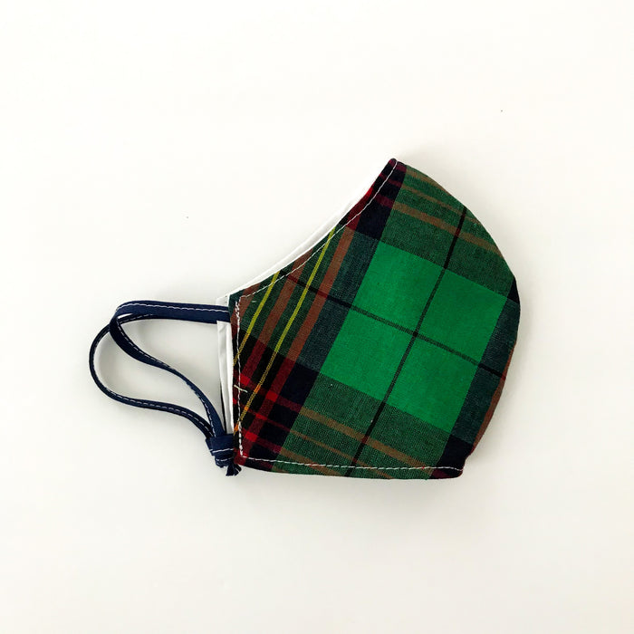 Child Size Green Tartan Curved Mask w/Adjustable Loops