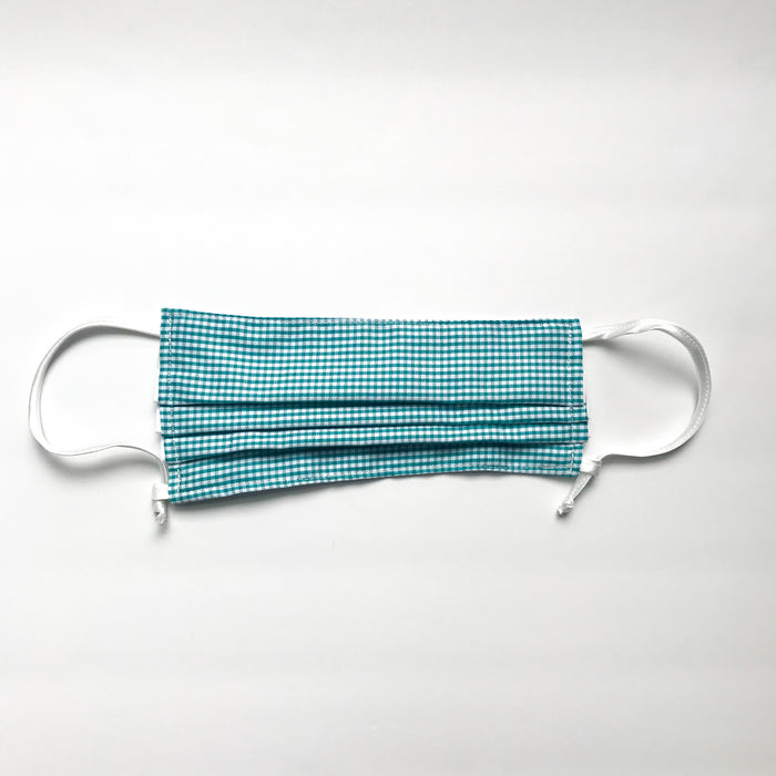 Green Gingham Pleated Mask w/Adjustable Loops